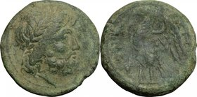 Greek Italy. Bruttium, The Brettii. AE Unit, 214-211 BC. D/ Head of Zeus right, laureate. R/ Eagle standing left on thunderbolt, wings open. HN Italy ...