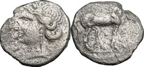Greek Italy. Central and Southern Campania, Capua. Carthaginian Occupation. AR Quarter Shekel, c. 216-211 BC. D/ Head of Tanit left, wearing wreath. R...