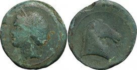 "Greek Italy. Bruttium, Carthaginians in South-West Italy. AE Unit, ""Locri"" type, 215-205 BC. D/ Head of Tanit-Demeter left, wearing wreath of grain ea..."