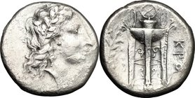 Greek Italy. Bruttium, Kroton. AR Stater, 350-300 BC. D/ Head of Apollo right. R/ Tripod; to right, olive branch. HN Italy 2177. AR. g. 6.61 mm. 20.00...