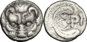 Greek Italy. Bruttium, Rhegion. AR Litra, 415-387 BC. D/ Lion mask facing. R/ PH between two leaves of olive-spring. HN Italy 2499. AR. g. 0.61 mm. 10...