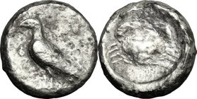 Sicily. Akragas. AR Didrachm, 510-472 BC. D/ Eagle, standing left with closed wings. R/ Crab. SNG ANS 945. AR. g. 7.69 mm. 18.00 R. Partly slightly to...