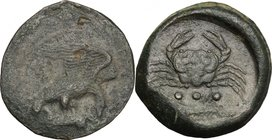 Sicily. Akragas. AE Tetras, c. 420-406 BC. D/ Eagle standing right on hare, head lowered, wings spread. R/ Crab; below, three pellets and crayfish lef...