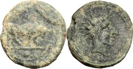 Sicily. Gela. AE Onkia, 420-405 BC. D/ Bull right; in exergue, pellet. R/ Head of river god right. CNS III, 26. AE. g. 0.99 mm. 11.00 About VF.