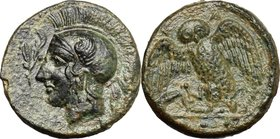Sicily. Kamarina. AE Tetras, 410-405 BC. D/ Head of Athena left, helmeted; before, olive-spray. R/ Owl standing left, wings open, grasping a lizard; i...