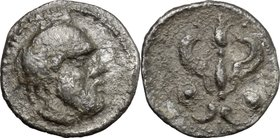 Sicily. Katane. AR Litra, c. 460 BC. D/ Head of satyr right. R/ Winged thunderbolt; to both sides, shield. SNG Cop. -. SNG ANS 1237. AR. g. 0.68 mm. 1...