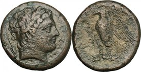 Sicily. Messana. The Mamertinoi. AE 264-241 BC. D/ Head of Ares right, laureate; behind, spear-head. R/ Eagle standing left. CNS I, 7. AE. g. 19.26 mm...