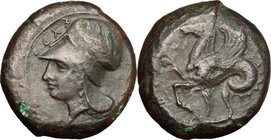 Sicily. Syracuse. Timoleon and the Third Democracy (344-317 BC). AE Litra, 345-317 BC. D/ Head of Athena left; wearing Corinthian helmet. R/ Bridled h...