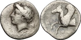 Sicily. Syracuse. Timoleon and the Third Democracy (344-317 BC). AR Hemidrachm, 344-317 BC. D/ Head of Arethusa left. R/ Forepart of Pegasus left. SNG...
