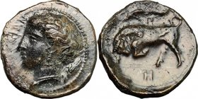 Sicily. Syracuse. Agathokles (317-289 BC). AE 16mm, 317-310 BC. D/ Head of Persephone left. R/ Bull charging left; above, dolphin. CNS II, 101. SNG Co...