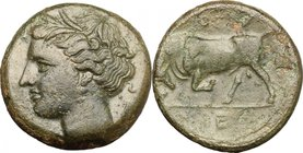 Sicily. Syracuse. Hieron II (274-216 BC). AE 18mm, 274-216 BC. D/ Head of Kore left, wearing wreath. R/ Bull butting left; above, club. CNS II, 191. A...