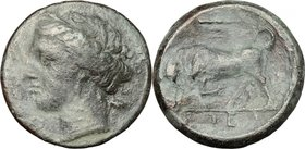 Sicily. Syracuse. Hieron II (274-216 BC). AE 19mm. D/ Head of Kore left wearing wreath. R/ Bull butting left; above, club. CNS II, 191. AE. g. 5.55 mm...