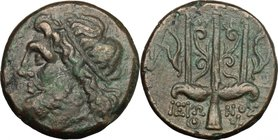 Sicily. Syracuse. Hieron II (274-216 BC). AE 18mm. D/ Head of Poseidon left, wearing taenia. R/ Ornamented trident; on both sides, dolphin. SNG Cop. 8...