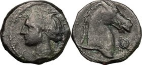 Sicily. Punic Sicily. AE 20mm, 300-264 BC. D/ Head of Tanit-Persephone left, wearing wreath. R/ Head of horse right; before, O. SNG Cop. 151. AE. g. 4...