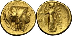 "Continental Greece. Kings of Macedon. Alexander III ""the Great"" (336-323 BC). AV Stater, Amphipolis mint, 330-320 BC. D/ Head of Athena right, wearing..."