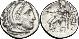 "Continental Greece. Kings of Macedon. Alexander III ""the Great"" (336-323 BC). AR Drachm, Kolophon mint, 323-319 BC. D/ Head of Heracles right, wearing..."