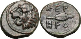 Continental Greece. Thrace, Chersonesos. AE 13mm, 480-350 BC. D/ Head of lion left. R/ Grain of barley. SNG Cop. 844. AE. g. 2.24 mm. 13.00 Good VF.