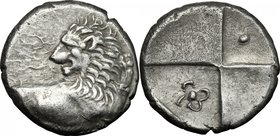 Continental Greece. Thrace, Chersonesos. AR Hemidrachm, 386-338 BC. D/ Forepart of lion right, head turned back. R/ Incuse square with four fields; in...