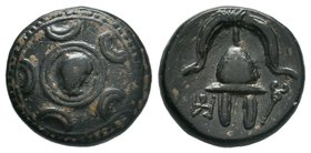KINGDOM of MACEDON. 323-310 BC, Half Unit . Head of Herakles at center of shield / Crested helmet, caduceus  Condition: Very Fine  Weight: 4.29gr Diam...