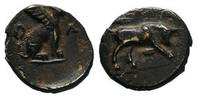 Caria, Kaunos, c. 350-300 BC. Æ  Condition: Very Fine  Weight: 1.47gr Diameter: 12.62mm  From a Private DUTCH Collection.