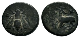 Ephesos, Ionia, ca. 387-280 BC.AE Bronze  Condition: Very Fine  Weight: 2.14gr Diameter: 15.09mm  From a Private DUTCH Collection.