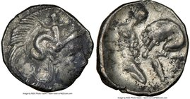 CALABRIA. Tarentum. Ca. 4th century BC. AR diobol (12mm, 2h). NGC Choice VF. Ca. 325-280 BC. Head of Athena right, wearing crested Attic helmet decora...