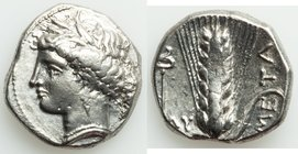 LUCANIA. Metapontum. Ca. 340-330 BC. AR stater or nomos (21mm, 7.84 gm, 8h). About XF. Ly-, magistrate. Head of Demeter left, wreathed with grain, wea...