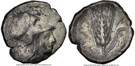 LUCANIA. Metapontum. Ca. 325-275 BC. AR diobol (11mm, 8h). NGC VF. Head of Athena right, wearing Corinthian helmet pushed back on head / META, barley ...