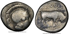 LUCANIA. Thurium. Ca. 443-400 BC. AR triobol or diobol (11mm, 5h). NGC VG. Head of Athena right wearing crested Attic helmet / ΘOYPIΩN, bull butting r...