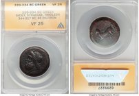 SICILY. Syracuse. Timoleon and the Third Democracy (ca. 344-317 BC). AE drachm or dilitron (27mm, 4h). ANACS VF 25. Second series, ca. 339/8-334 BC. I...