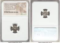 THRACO-MACEDONIAN TRIBES. Mygdones or Crestones. Ca. 485-470 BC. AR diobol (12mm, 0.95 gm). NGC Choice XF 5/5 - 4/5. Goat kneeling right, head left; p...