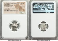 MACEDON. Acanthus. Ca. 525-480 BC. AR tetrobol (16mm, 2.20 gm). NGC Choice XF 5/5 - 4/5. Forepart of bull left, head right; ΠE above, dotted border / ...