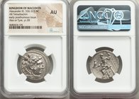 MACEDONIAN KINGDOM. Alexander III the Great (336-323 BC). AR tetradrachm (26mm, 11h). NGC AU. Posthumous issue of Ake or Tyre, dated Regnal Year 28 of...