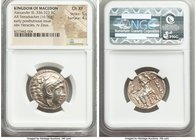 MACEDONIAN KINGDOM. Alexander III the Great (336-323 BC). AR tetradrachm (25mm, 16.96 gm, 11h). NGC Choice XF 5/5 - 4/5. Posthumous issue of 'Amphipol...