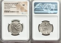 MACEDONIAN KINGDOM. Alexander III the Great (336-323 BC). AR tetradrachm (26mm, 12h). NGC XF. Posthumous issue of Ake or Tyre, dated Regnal Year 23 of...