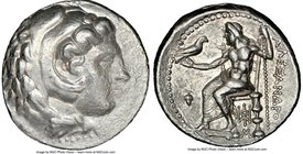 MACEDONIAN KINGDOM. Alexander III the Great (336-323 BC). AR tetradrachm (26mm, 1h). NGC VF, graffito. Late lifetime or early posthumous issue of Baby...