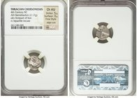 THRACE. Chersonesus. 4th century BC. AR hemidrachm (13mm, 2.17 gm). NGC Choice AU, 5/5 - 3/5, Fine Style, edge cuts. Forepart of lion right, head reve...