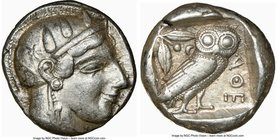 ATTICA. Athens. Ca. 465-455 BC. AR tetradrachm (23mm, 17.16 gm, 3h). NGC Choice VF 5/5 - 4/5. Head of Athena right, wearing crested Attic helmet ornam...