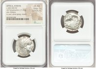 ATTICA. Athens. Ca. 440-404 BC. AR tetradrachm (24mm, 17.21 gm, 6h). NGC Choice AU 5/5 - 4/5. Mid-mass coinage issue. Head of Athena right, wearing cr...