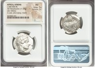 ATTICA. Athens. Ca. 440-404 BC. AR tetradrachm (27mm, 17.20 gm, 7h). NGC AU 5/5 - 3/5. Mid-mass coinage issue. Head of Athena right, wearing crested A...
