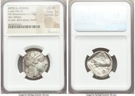 ATTICA. Athens. Ca. 440-404 BC. AR tetradrachm (24mm, 17.14 gm, 2h). NGC Choice XF 5/5 - 3/5. Mid-mass coinage issue. Head of Athena right, wearing cr...
