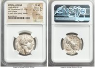 ATTICA. Athens. Ca. 440-404 BC. AR tetradrachm (25mm, 17.17 gm, 9h). NGC Choice XF 5/5 - 2/5, test cut. Mid-mass coinage issue. Head of Athena right, ...
