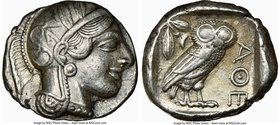 ATTICA. Athens. Ca. 440-404 BC. AR tetradrachm (25mm, 17.18 gm, 12h). NGC XF 5/5 - 4/5. Mid-mass coinage issue. Head of Athena right, wearing crested ...