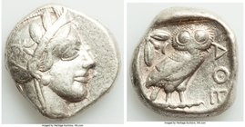 ATTICA. Athens. Ca. 440-404 BC. AR tetradrachm (24mm, 17.14 gm, 1h). VF, graffito. Mid-mass coinage issue. Head of Athena right, wearing crested Attic...