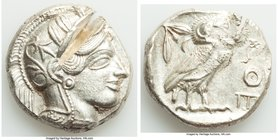 ATTICA. Athens. Ca. 440-404 BC. AR tetradrachm (25mm, 17.20 gm, 9h). XF, test cut. Mid-mass coinage issue. Head of Athena right, wearing crested Attic...