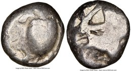 SARONIC ISLANDS. Aegina. Ca. 480-457 BC. AR stater (19mm). NGC VG. Sea turtle, viewed from above, head turned sideways, with trefoil collar and row of...