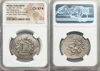 MYSIA. Pergamum. Ca. 180/167-133 BC. AR cistophorus (34mm, 1h). NGC Choice XF S. Ca. 160-150 BC. Serpent emerging from cista mystica; all within ivy w...