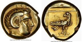 LESBOS. Mytilene. Ca. 377-326 BC. EL sixth-stater or hecte (10mm, 2.55 gm, 3h). NGC Choice VF 5/5 - 4/5. Head of Apollo Carneius right, with horn of A...