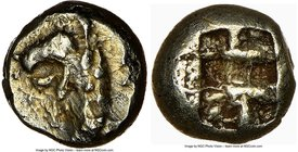 IONIA. Phocaea. Ca. 625-600 BC. EL 1/12 stater or hemihecte (7mm, 1.16 gm). NGC XF 3/5 - 4/5. Head and neck of griffin left, mouth open; seal upward b...