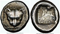 IONIAN ISLANDS. Samos. Ca. late 6th century BC. AR drachm (14mm, 2.98 gm, 12h). NGC Choice XF 5/5 - 4/5. Ca. 512 BC. Head of panther facing, within do...